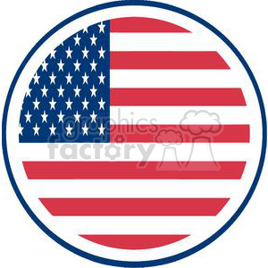 The American Flag With White Stars Over Blue And Rows Of Red In A Circle clipart. Commercial use image # 379167