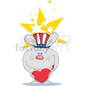 Patriotic Grey Bunny Holds Heart And Stars clipart. Royalty-free image # 379172