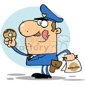 Happy Police Officer Eating Donut With A Bag of Dounuts In His Hand clipart. Commercial use image # 379177
