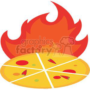 Hot Pizza In Front Of Flame clipart. Royalty-free image # 379187