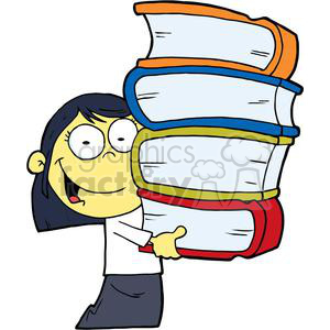 Asian School Girl In White Blouse and Black Skirt Carrying Four Books clipart. Commercial use image # 379192