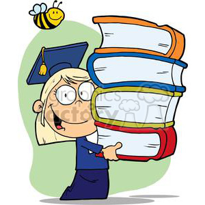 A Little Blond Graduate With Cap and Gown Holding Books clipart. Commercial use image # 379197