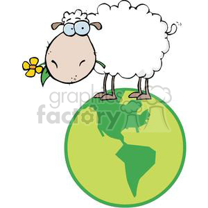 Sheep With Flower In Mouth On A Globe