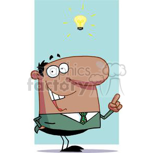 African American Businessman Has A Bright Idea clipart. Commercial use image # 379212