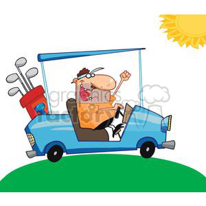 A Happy Golfer Driving A Golf Cart On A Summer Day clipart. Commercial use image # 379217