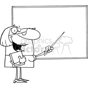 Teacher using A baton Pointing to the Board  clipart. Commercial use image # 379232
