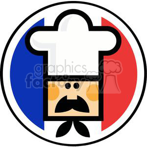 A Chef Face Over Of Flag Of France clipart. Royalty-free image # 379237