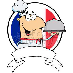 Cartoon Male Chef Serving Food In A Sliver Platter In Front Of Flag Of France Banner clipart. Commercial use image # 379247