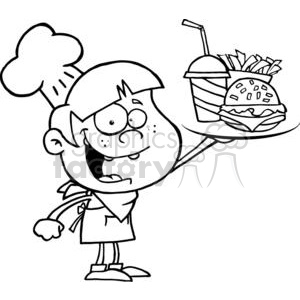 Fast Food Boy Chef Holding Up Hamburger Drink And French Fries clipart. Commercial use image # 379252