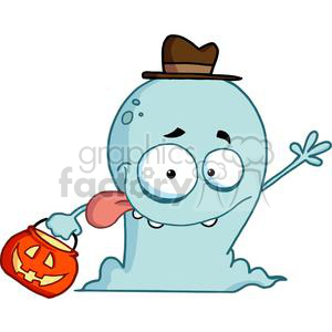 Happy Ghost Goes Trick Or Treating clipart. Royalty-free image # 379267