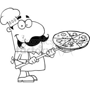 fast food proud chef inserting a pepperoni pizza pie