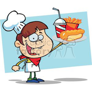 Boy Chef Holding Hot Dog Drink And French Fries clipart. Commercial use image # 379277