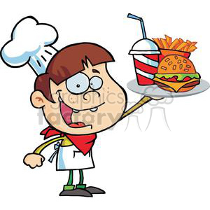 Chef Holding Up Hamburger Pop With French Fries clipart. Royalty-free image # 379287