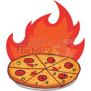Flaming Hot Pepperoni Pizza clipart. Commercial use image # 379292