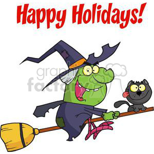 Happy Holidays Greeting With Harrison Rode A Broomstick with A Cat clipart. Royalty-free image # 379307