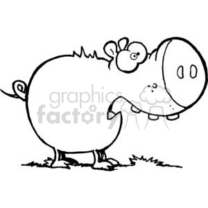 Cartoon Character Pig Looks Scared clipart. Royalty-free image # 379312