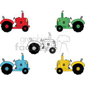 Vintage Farm Tractors Set clipart. Royalty-free image # 379317