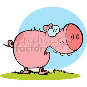 cartoon character pig looks scared