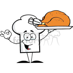 Cartoon Chefs Hat Character Holder Plate With Turkey clipart. Royalty-free image # 379337