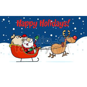 Holiday Greetings With Santa Claus clipart. Commercial use image # 379347