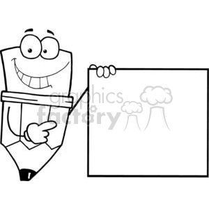 Pencil Cartoon Character Presenting A Blank Sign clipart. Commercial use image # 379352