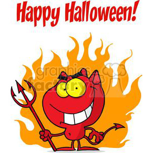 Happy Holidays Greeting With Halloween Devil clipart. Royalty-free image # 379357