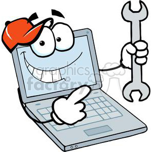 Laptop Cartoon Character Holding A Wrench clipart. Commercial use image # 379367