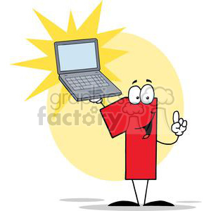Number One Cartoon Character Presents The Best Laptop clipart. Royalty-free image # 379372