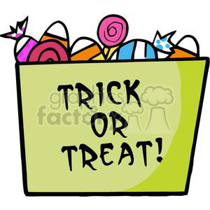 cartoon funny comical comic vector halloween trick+or+treat candy bag