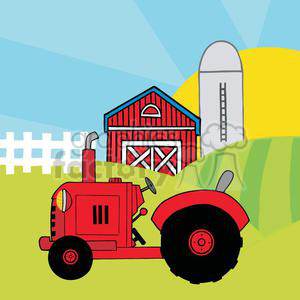 Vintage Red Tractor In Front Of Country Farm Clipart