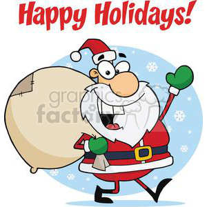 Holiday Greetings With Santa Claus clipart. Commercial use image # 379417