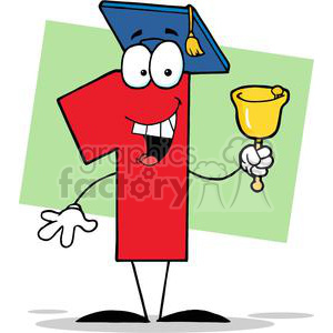 Number One Ringing A Bell And Graduate Cap clipart. Royalty-free image # 379422