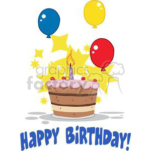 Birthday Cake With One Candle Lit And Balloons And Stars clipart. Commercial use image # 379432