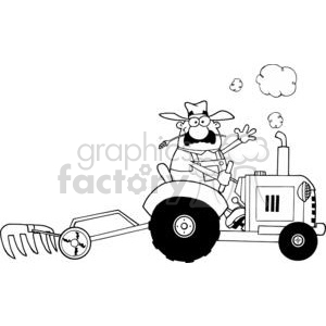 Black and White Happy Farmer Driving a Tractor clipart. Royalty-free image # 379437
