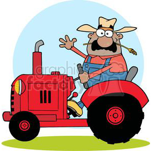African American Farmer on a Red Tractor Waving clipart. Commercial use image # 379442