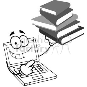 Laptop Cartoon hold a pile of books clipart. Royalty-free image # 379447