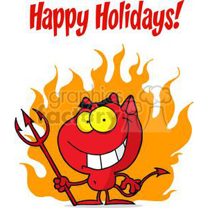 Happy Holidays with Devil and Fire clipart. Commercial use image # 379452