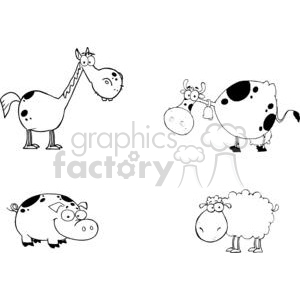 cartoon funny comical comic vector farm farmer pig cow horse sheep black white animal animals