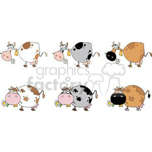 Cartoon Character Cows Different Color Set clipart. Commercial use image # 379472