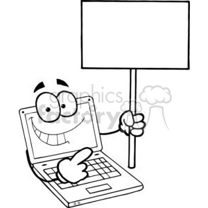 Laptop Cartoon Character Holding A Blank White Sign clipart. Commercial use image # 379482