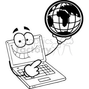 Laptop Cartoon Character Holding A Globe clipart. Royalty-free image # 379487