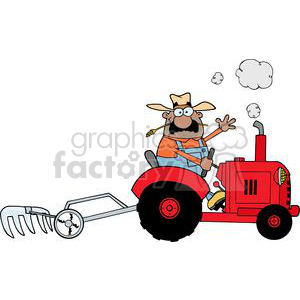 Happy African American Farmer Driving A Red Tractor clipart. Royalty-free image # 379492