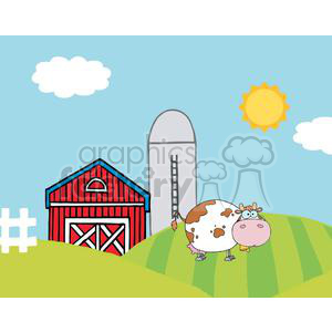 Country Farm Scene With Cow clipart. Commercial use image # 379502