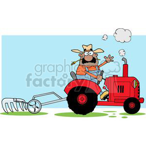 Happy African American Farmer Driving A Red Tractor clipart. Royalty-free image # 379512