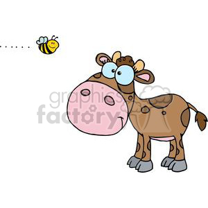 Cute Little Cow Seen Flying Bee clipart. Commercial use image # 379522