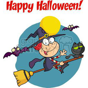 Happy Holidays Greeting With Halloween Little Witch clipart. Royalty-free image # 379527