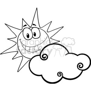 Cartoon Character Smiling Sun Behind The Cloud clipart. Commercial use image # 379532