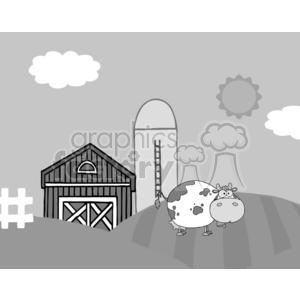 Country Farm Scene With Cow clipart. Commercial use image # 379537