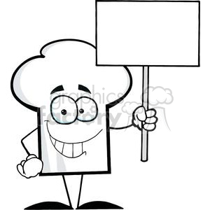 Cartoon Chefs Hat Character Holding A Blank White Sign clipart. Commercial use image # 379542