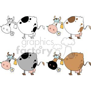 Cartoon Character Cows Different Color Set clipart. Commercial use image # 379547